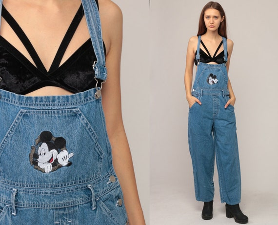 Mickey Mouse Overalls Woman Denim Overall Disney Overall Pants Bib Cartoon Romper Shorts 90s Grunge Jean Blue Vintage Small