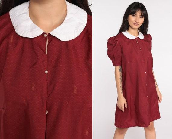 70s Mini Dress Novelty Print DAPPER MAN Shift Dress Hippie Puff Sleeve Vintage Peter Pan Collar Dolly Boho Burgundy 1970s Medium