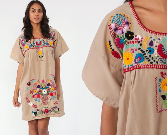 Embroidered Mexican Dress Taupe Hippie Boho Mini Butterfly Ethnic Tent Bohemian Floral Tunic Tan Festival Minidress Large