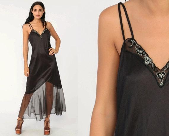 Mermaid Hem Nightgown Slip Dress 80s Maxi Black Chiffon Embroidered Boho Sheer Lingerie Vintage 1980s Gothic Deep V Small