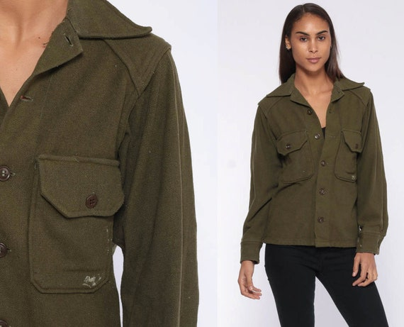 Wool Army Shirt -- Green Military Shirt Commando 70s Military Olive Drab Cargo 1970s Vintage Button Up Extra Small xs