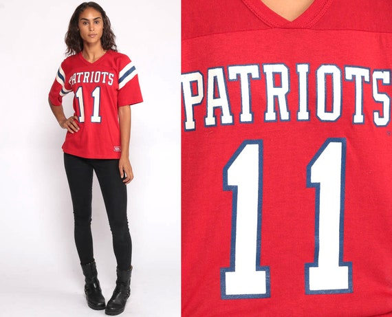 Patriots Football Shirt 80s Rawlings Numbered 11 Sports Tshirt Athletic 80s Tshirt Short Sleeve Red 1980s Retro Small Medium