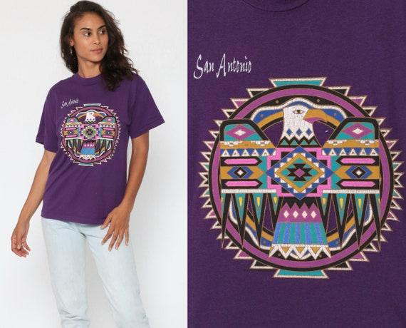 Native American Shirt 90s Eagle THUNDERBIRD T Shirt San Antonio Texas 80s Graphic Tshirt 1990s Vintage Retro Tee Purple Small Medium