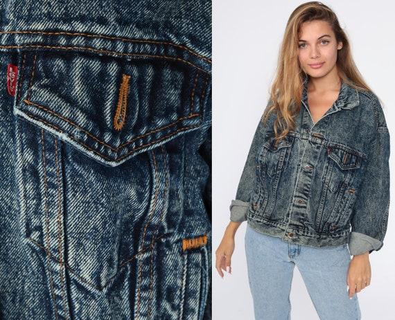 Vintage Levi Jacket 80s Denim Jacket Levis ACID WASH Jean Trucker Button Up Dark Blue 90s Levi Strauss Medium Large