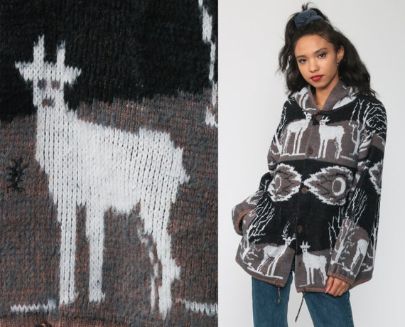 Animal Hoodie Sweater 90s Deer Button Up Cardigan… - image 1
