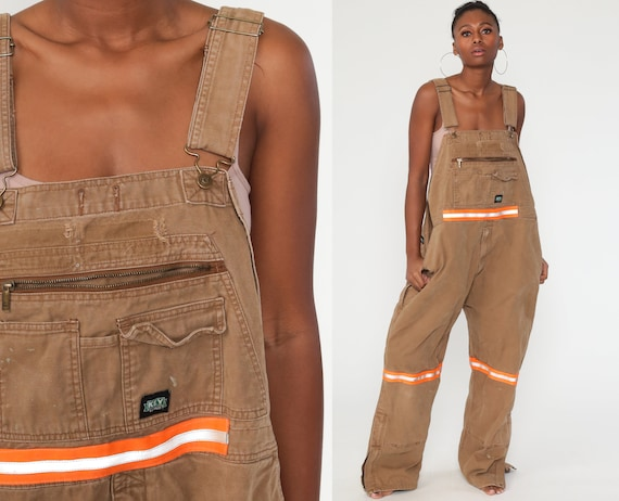 Key Overalls Workwear Coveralls Tan Baggy Pants Cargo Work Dungarees Light Brown Workwear Long Wide Leg Jeans Bib Vintage Extra Large xl
