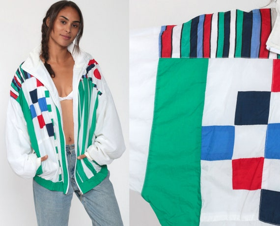 90s Windbreaker Jacket White Color Block Geometric Print Hipster Vintage Checkered Circles 1990s Green Blue Extra Large xl l