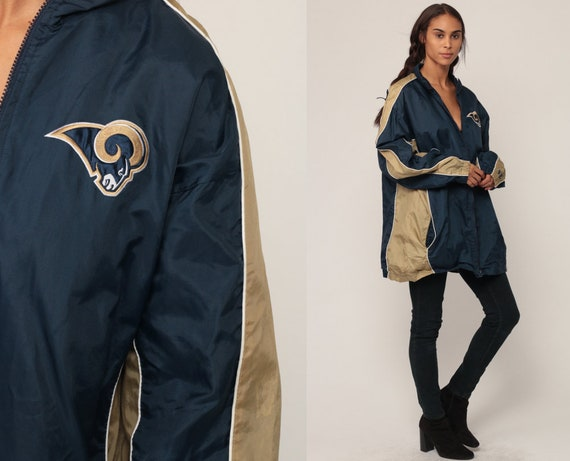 St Louis Rams Jacket NFL Football Jacket 90s Hooded Jacket Hood Sports HOODIE Jacket 1990s Extra Large xl