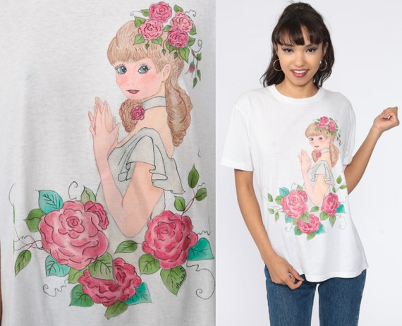 Romantic Woman T Shirt 90s Rose Princess Shirt Hand Drawn Pink Floral Tee Short Sleeve TShirt Flower Print 1990s Vintage Small Medium