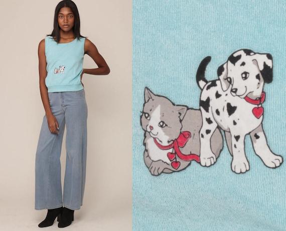 Retro Top CAT + DOG Shirt 80s Tank Top Terry Cloth Shirt Puppy Kitten Kawaii Terrycloth 1980s Hipster Slouch Vintage Blue Small Medium