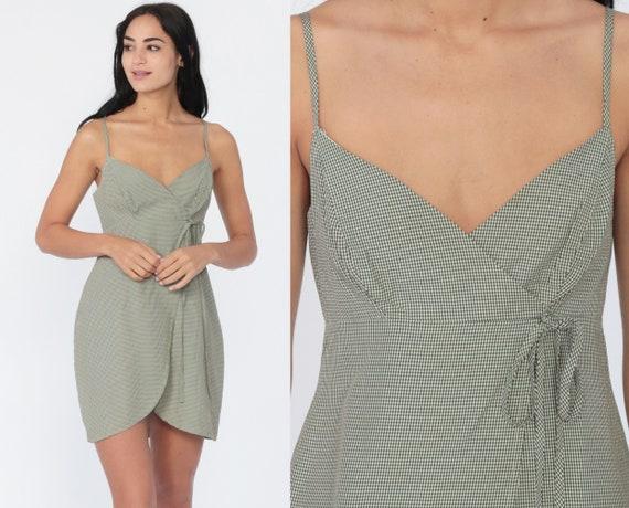90s Sun Dress TULIP HEM Green Gingham Grunge Mini Sundress Y2K Empire Waist Spaghetti Strap 00s Vintage Summer Wrap Extra Small xs Petite