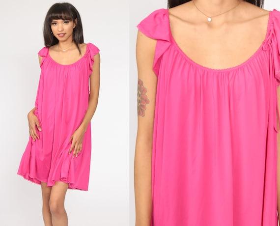 80s Nightgown Bright Pink Nightie Pajamas Lingerie Slip Dress Silky Mini Cutwork Flutter Sleeve Boho Tent Lounge Vintage Medium Large