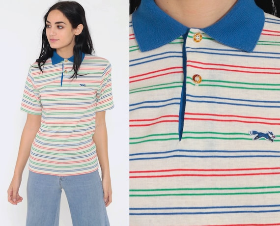 Fox Polo Shirt 80s Striped Shirt Half Button Up Shirt JC Penney Primary Colors Retro Collar 1980s Nerd Geek Vintage Beige Extra Small xs