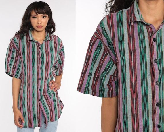 Ikat Striped Shirt 90s Grunge Top Oxford Cotton Vintage Short Sleeve Button Up Men Green Purple Lavender Extra Large xl xxl