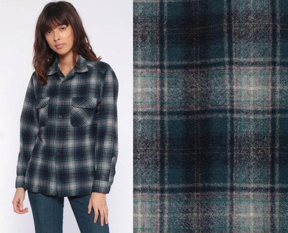 PENDLETON Shirt Oversized Flannel Shirt 90s Plaid Shirt Blue Green Grey Grunge Vintage Button Down Lumberjack Long Sleeve Extra Small xs