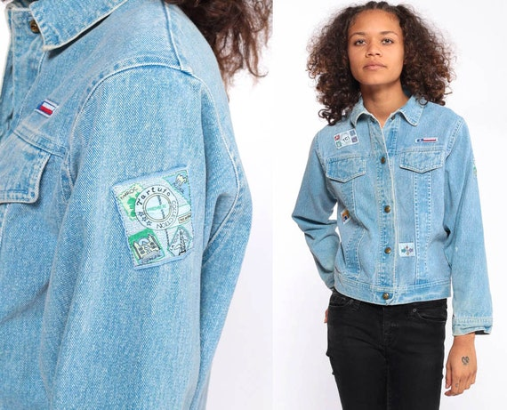 90s Jean Jacket Patch Denim Jacket Blue Stone Wash Oversize Trucker 1990s Vintage Button Up Trucker Extra Small xs xxs Petite
