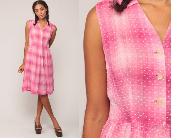 1960s Dress Pink Dress Checkered 60s Cotton Day Dress SHEER Plaid 50s Midi Button Up Pin Up Sleeveless Vintage Mad Men Full Skirt Large