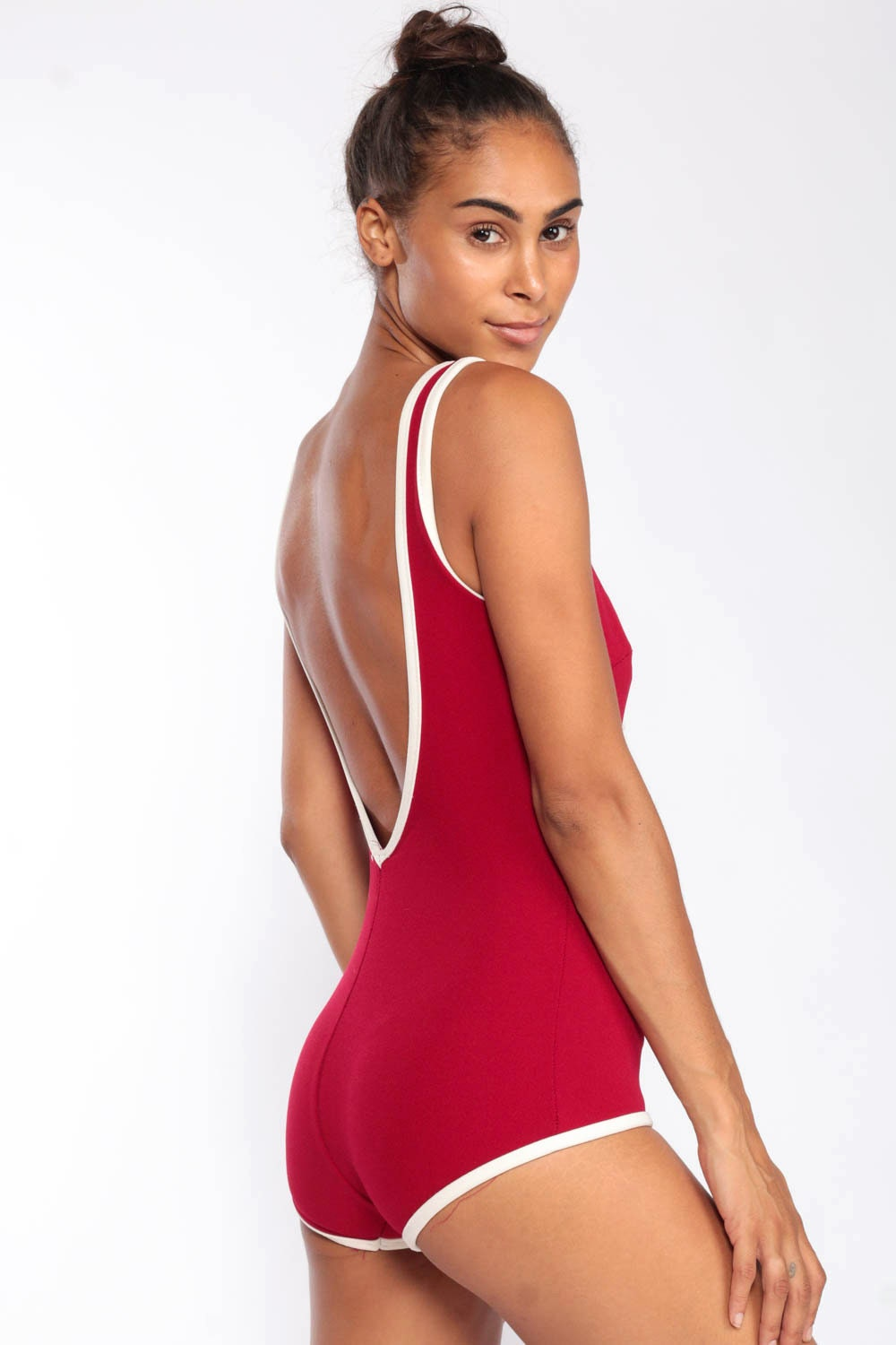 Red Bathing Suit CORSET Swimsuit 70s Swimsuit One Piece ...