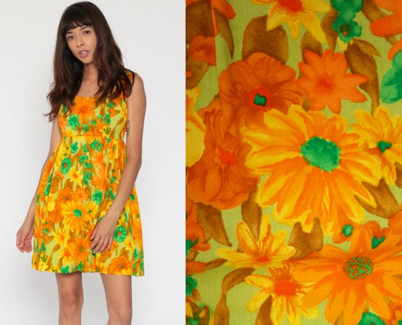 Hawaiian Babydoll Dress 60s Mod Mini Summer Party Empire Waist 70s Floral Orange Green Vintage Gogo Sixties Sleeveless Flower Print Small 4