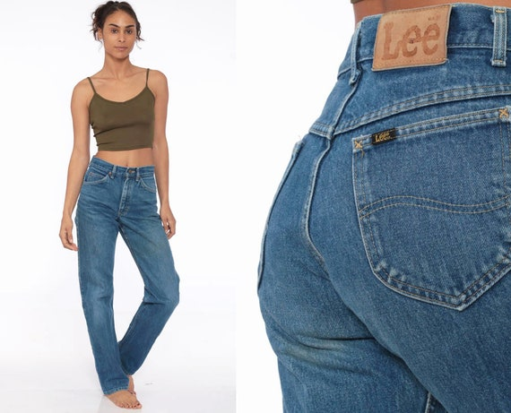 90s Mom Jeans 28 LEE Jeans High Waist Jeans 80s High Waisted Denim Pants 90s Slim Skinny Jeans Vintage Blue Hipster Small 28 x 34