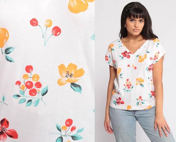 Floral Tee Shirt Cherry Fruit Shirt Cap Sleeve Top 80s Tshirt Pear Graphic Print T Shirt V Neck Shirt Vintage Retro Tshirt Extra Large xl
