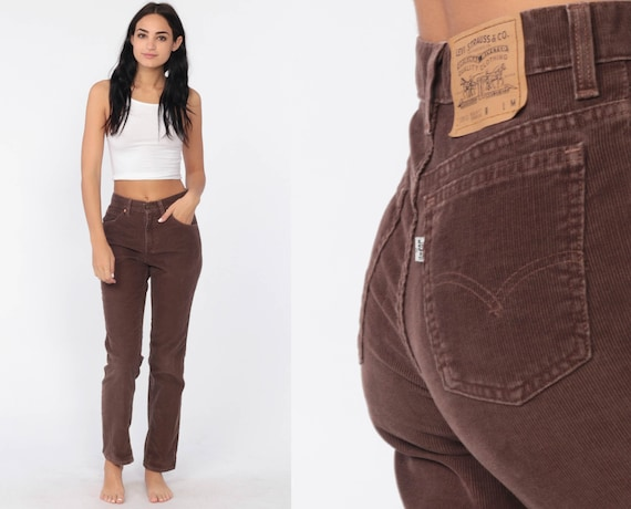 Levis Corduroy Pants 90s Straight Leg Pants Levi Strauss Jeans Straight Leg Trouser Brown 1990s Vintage Boho Jeans Extra Small xs
