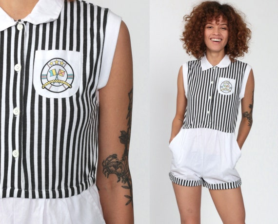Striped Romper Playsuit Nautical Romper 80s Button Up Cotton Romper Onesie White High Waist 1980s Vintage Cap Sleeve Extra Small xs Petite