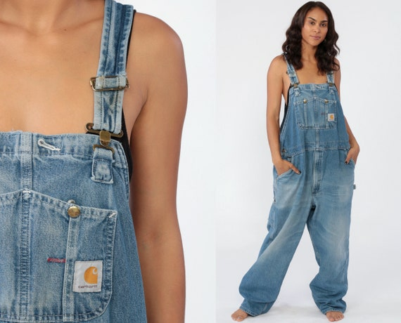 Carhartt Overalls Men's Bib Jean Overalls 90s Denim Pants Dungarees GRUNGE Suspender Blue Pants Vintage 1990s Streetwear Extra Large XL