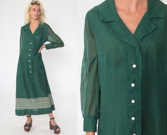 Green Boho Dress 70s Mod Ric Rac Floral Maxi Shift White Cotton Sheer Long Sleeve Hippie Vintage 1970s Bohemian Festival Button Up Medium