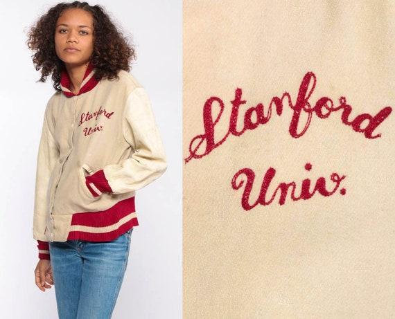 Stanford Letterman Jacket -- 70s Wool Varsity Jacket LEATHER Baseball Jacket Bomber Jacket Coat Cream Hipster Vintage Extra Small xs