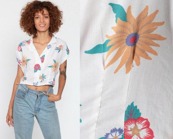 Tropical Shirt Crop Top Floral Blouse Button Up Shirt 80s Hibiscus Print 1980s Vintage Short Sleeve White Summer Top Cap Sleeve Medium