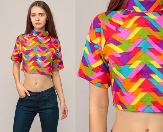 53fec93f316 Rainbow Crop Top Hippie Shirt Geometric Blouse 70s Cropped   Etsy