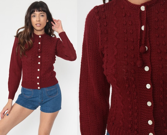 Burgundy Nerd Cardigan 70s Sweater Grandma Sweater 1970s Vintage Textured Nubby Sweater 80s vtg Preppy Button Up Extra Small xs s