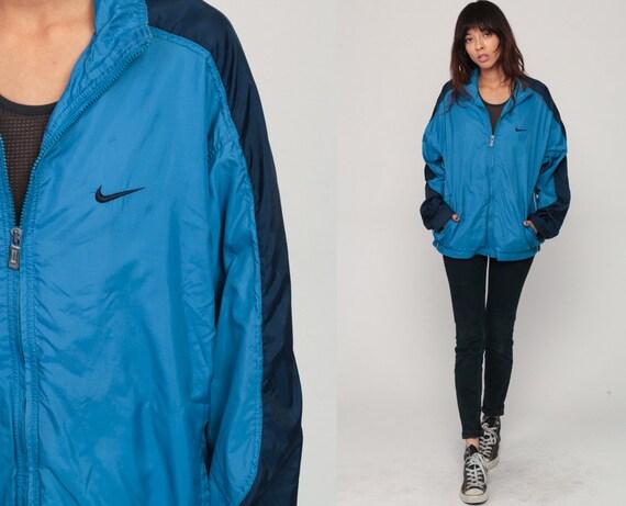 Blue Nike Windbreaker Jacket Shell Zip Jacket Striped Streetwear Blue Striped Vintage Retro Sports Medium Large