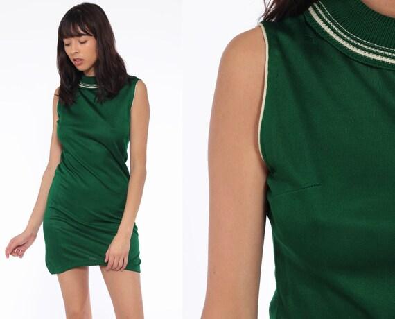 Mod Mock Neck Dress 70s Mini Green Minimalist Retro 60s Sheath Vintage Sleeveless Gogo Shift Twiggy Plain Minidress Small