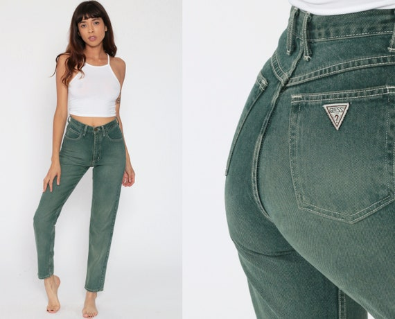 Green Guess Jeans 90s Mom Jeans High Waist Jeans 80s Skinny Tapered Faded Jeans Denim Pants 90s Vintage Georges Marciano Extra Small xs