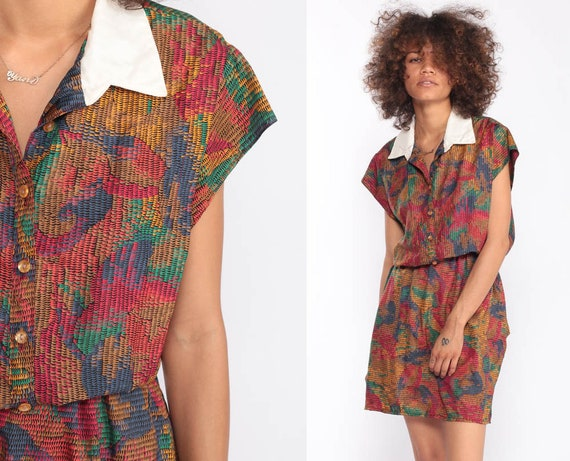 Shirtwaist Dress 70s Mini Button Up Dress SCALE PRINT Cap Sleeve High Waist 80s Secretary Bright Abstract Vintage Preppy Medium Large