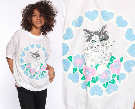 Slouchy Cat Shirt -- 80s Short Sleeve Floral Hearts Happy Kitten Graphic 1980s Blouse White Semi Sheer Kawaii Vintage Baby Blue Pink Medium