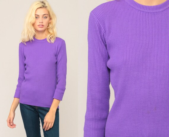 Purple Sweater 70s Sweater Bright LIGHTWEIGHT Knit Slouchy Pullover Jumper Plain 1970s Hipster Vintage Extra Large xl