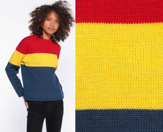Primary Colors Sweater -- 80s Striped WOOL Sweater Grunge Red Yellow Navy Blue Stripes Pullover Knit Streetwear Colorful Extra Small xs