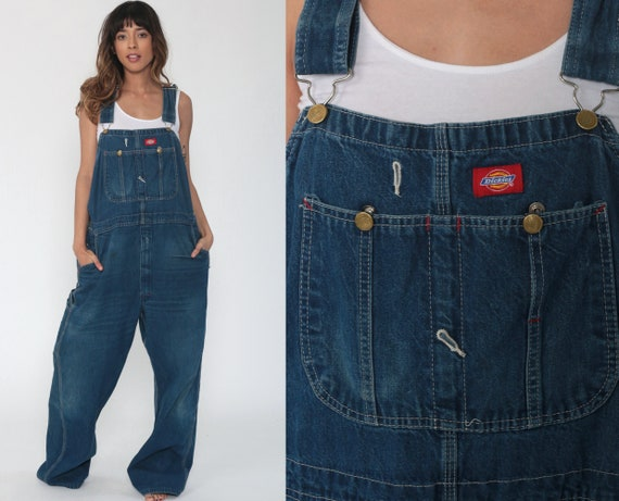 90s Dickies Overalls -- 44 Denim Bib Overalls Baggy Dungarees Long Jean Pants Utility Pants Utilitarian Carpenter Workwear Extra Large xl