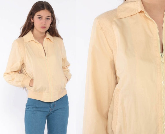 80s Bomber Jacket Coat Light Peach Yellow Retro Windbreaker Vintage 1980s Plain Normcore Sports Extra Small xs