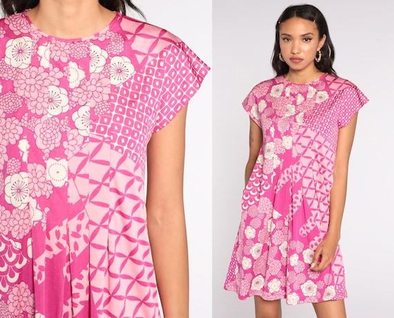 Y2K Pink Floral Dress Flower Power Mini Dress 00s Vintage Pleated Pocket Dress Shift Cap Sleeve Retro Summer MiniDress Y2K Medium