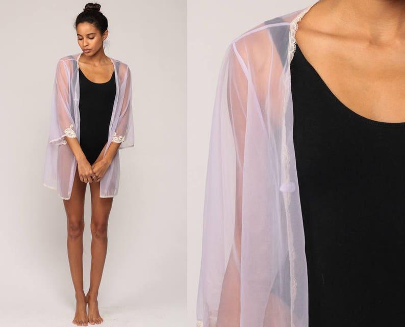 86464ce2956 Sheer Robe Lingerie Jacket 70s Pastel Lavender Purple Kimono