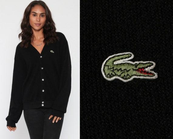 LACOSTE Cardigan Sweater 80s Black Button Up IZOD Crocodile Slouchy Grandpa Knit Plain Vintage 1980s Preppy Nerd Oversized Medium Large