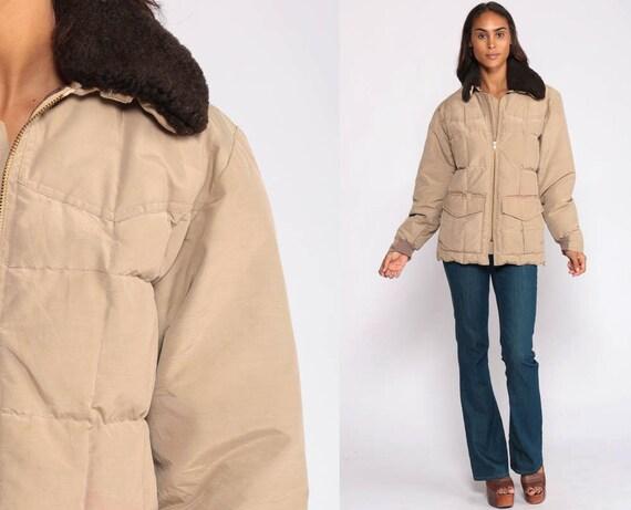Winter Coat Down Jacket Retro Ski Jacket SHERPA COLLAR 70s Puffy Retro Hipster Warm Jacket Tan 80s Vintage Puff Medium Large