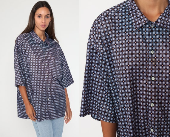 Geometric Shirt Button Up Top 90s Grunge Print Blue Brown Vintage Oversized Button Down Short Sleeve Pocket Disco Shirt Extra Large xl l