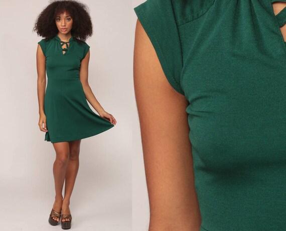 70s Mini Dress Grecian KEYHOLE Dark Green Party Boho Plain 70s High Waist Cap Sleeve Secretary Vintage 1970s Bohemian Sheath Extra Small xs