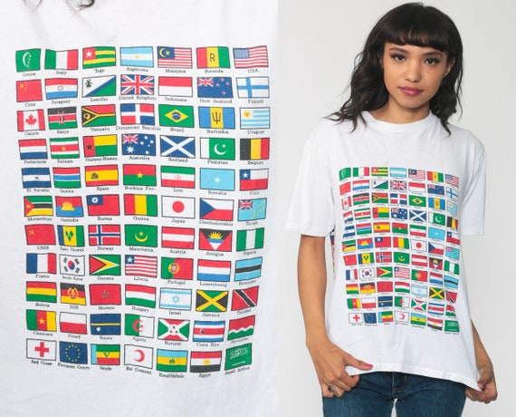 World Flag Shirt 90s Oneita TShirt Globe Top White Top 1990s Vacation Travel Shirt Vintage Retro Tourist Small Medium