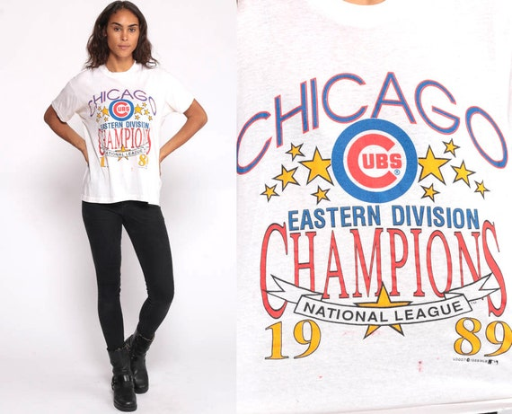 Chicago Cubs Shirt Baseball Tee Shirt Champions 1989 Baseball Shirt MLB Graphic Sports Retro Tshirt Vintage White Shirt Sports Medium Large